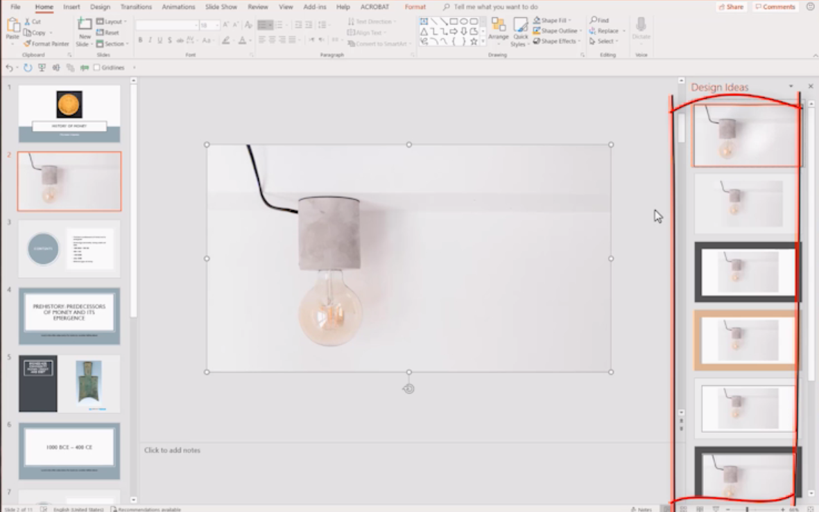 How use auto design and screenshots in PowerPoint?